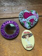 Heart Shaped & Round Purple Glitzy Mir Gently Used Lot of 3 Small Oval Coca-Cola