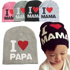 BAMBINO NEONATO BIMBO I LOVE MAMA PAPA uncinetto cappello cotone