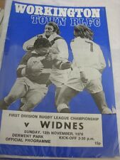 12/11/1978 Rugby League Programme: Workington Town v Widnes (team changes)