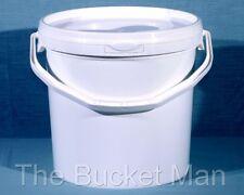 3 x 10 L Ltr Litre White Plastic Buckets Containers with Lids & Plastic Handles