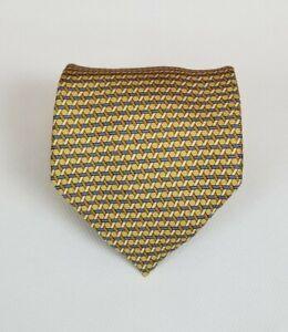 NWT Ike Behar 100% Silk Neck Tie Gold Check 58L 4W