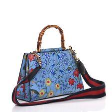 Gucci Nymphae Azure Shanghai Floral Handbag Blue Bag Handbag Leather Bamboo New