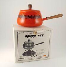 Vtg Mid-Century Modern Orange Black Daisies Fondue Pot Set 2qt with Forks Plates