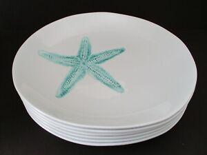 SIGRID OLSEN Coastal Sea Life Star Fish Melamine White Dinner Plates S/6 New