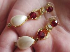 KATE SPADE PEARL MIX LINEAR EARRINGS RUBY MULTI pink $98 crystal drop