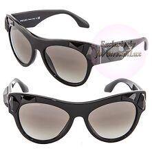 PRADA VOICE Aviator Women Sunglasses SPR 22Q 1AB-0A7 Black Crystal Stones