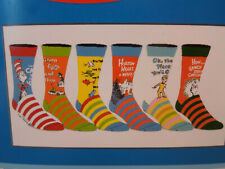 Dr. Seuss NEW 6 Pair Casual CREW SOCKS SIZE 8-12