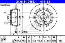 2x Bremsscheibe für Bremsanlage Hinterachse ATE 24.0111-0153.1