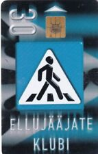 ESTONIA ,,CHIP PHONECARD USED, ROAD SIGN CROSSING,