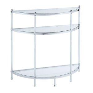 Convenience Concepts Royal Crest Entryway Table, Chrome/Glass - 134077