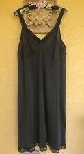 Vintage CABERNET Black Full Slip With Stretch Lace Straps, Size 44