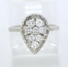 14k White Gold Round Diamond Pear Cluster Right Hand Ring .40ct