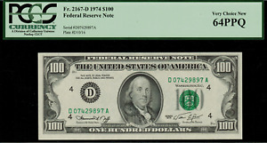 1974 $100 Federal Reserve Note - Cleveland - FR. 2167-D - Graded PCGS 64PPQ