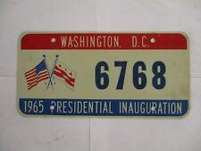 1965 Washington DC Johnson Inaugural  License Plate Tag