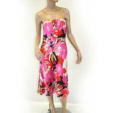 Banana Republic Fuchsia Pink Floral Strapless Lined 100% Silk A-Line Dress 4