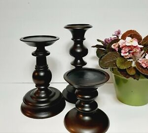 "POTTERY BARN FRUIT WOOD TURNED HURRICANES CANDLE HOLDERS 6"" 10"" & 11½"" MSRP $130"