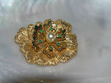 w Green Rhinestone & Faux Pearl Vintage Sarah Coventry Marked Layered Goldtone