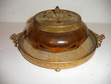 Antique Apollo Silver Co Vanity Tray Lace Boats Jeweled Amber Jar Powder Box Set