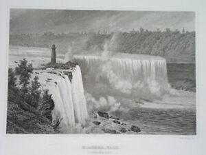 1850 UNUSUAL ORIGINAL UNITED STATES CANADA NIAGARA FALLS nice engraving - POPPEL