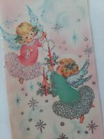 UNUSED Vtg Heavy SILVERED Angel GIRLS Pink CHRISTMAS GREETING CARD w Envelope