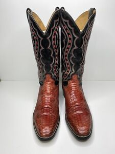 Vintage J Chisholm Red Snakeskin Western Cowboy Boots Mens 11AA Handcrafted USA