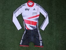 Team Issue GB British Cycling Adidas Sky Padded LS Aero Speed Skin Suit ~ Small
