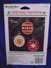 WONDERART CHRISTMAS TRADITIONS ORNAMENTS CANVAS WOOL TAPESTRY YARN KIT #6539