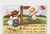ANTIQUE POSTCARD VALENTINES WHITNEY CUPID PULLS BOY AND GIRL ALONG WITH RIBBONS