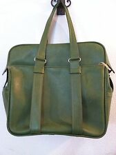 Vintage 60's bag suitcase avocado green carry on bag vinyl handle travel size M
