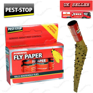 4x,8x PESTSTOP FLY TRAP PAPERS STICKY POISON FREE Insect Killer Bug Catcher Wasp