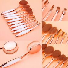 10 Pcs Set Toothbrush Facial Oval Makeup Brush Kit Rose Gold Foundation Brushes