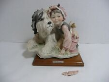 """G.ARMANI """"Girl with a Dog"""" Figurine Statue on wooden base. Made in Florence"""