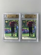 Lot (2) 2001 Tiger Woods Upper Deck #1 RC Rookie BGS 10 PRISTINE (.5 FROM BL)