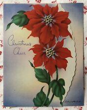 Vintage 1940s Die-Cut Poinsettia Christmas Greeting Card Scalloped Edge