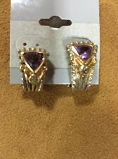14kt And Sterling Silver Amethyst Blue Topaz Lever Back Earring Post