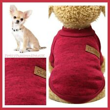 """XXS 8.6"""" Chihuahua Clothes Dog Coat Teacup Puppy Stunning Wine Red Speck Jumper"""