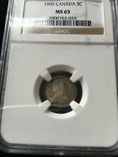 **1905**, NGC Graded Canadian,  5 Cent, **MS-65**