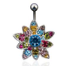 Bauchnabelpiercing Navel Ring Multi Zirkonia Kristall Blume Flower Bunt