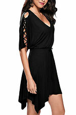 Abito gonna top nudo aperto Scollo Svasato Stringhe Ballo Lace Up Skater Dress M