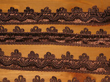 Brown 25 mm braid gimp upholstery trim looped 90 cm length