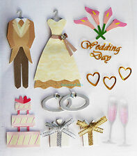 Paper Cellar 3d Vintage Wedding Embelishment Card Craft Toppers Adhesive