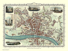 MAP OF NEWCASTLE UPON TYNE 1851 BY JOHN TALLIS
