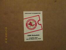 Springfield Cardinals Vintage Defunct 1989 Team Logo Baseball Pocket Schedule