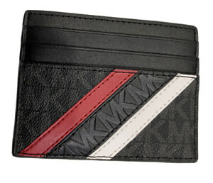 Michael Kors Signature Cooper Logo Stripe Slim Tall Card Case Wallet $78