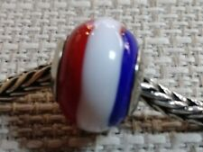 """Quality Gold """"Reflections"""" -Red, White & Blue- Charm Bead Sterling Silver"""