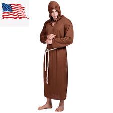 Medieval Renaissance Priest Monk Robe Hooded Halloween Cosplay Costume Robe Men
