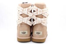 UGG Bailey Bow Embroidered Driftwood Boots Kids Size US 5 Womens US 7