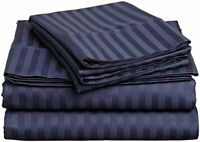 BEST BEDDING COLLECTION 100% Egyptian Cotton 1000 TC USA Sizes Navy Blue Stripe