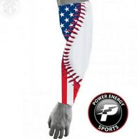 Titanium Sports Compression Dri-Fit Arm Sleeve USA American Flag Baseball Stitch