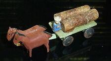 Nice HAND CARVED WEST GERMAN ERZGEBIRGE WOOD MINIATURE HORSE-DRAWN LOG CART TOY